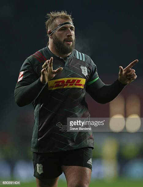 Joe Marler of Harlequins during the Aviva Premiership match between Harlequins and Gloucester Rugby at Twickenham Stadium on December 27 2016 in...