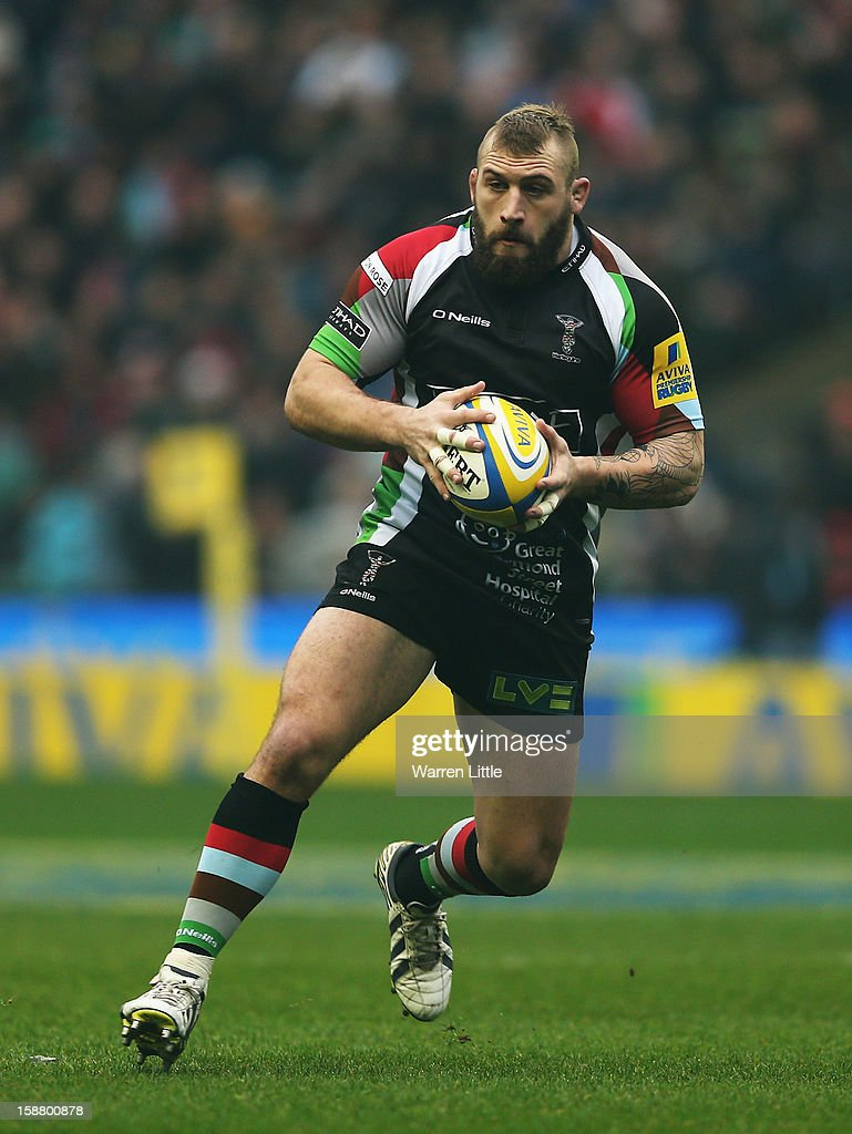 Joe Marler of Harlequins in action during the Aviva Premiership match between Harlequins and London Irish at Twickenham Stadium on December 29, 2012 in London, England.