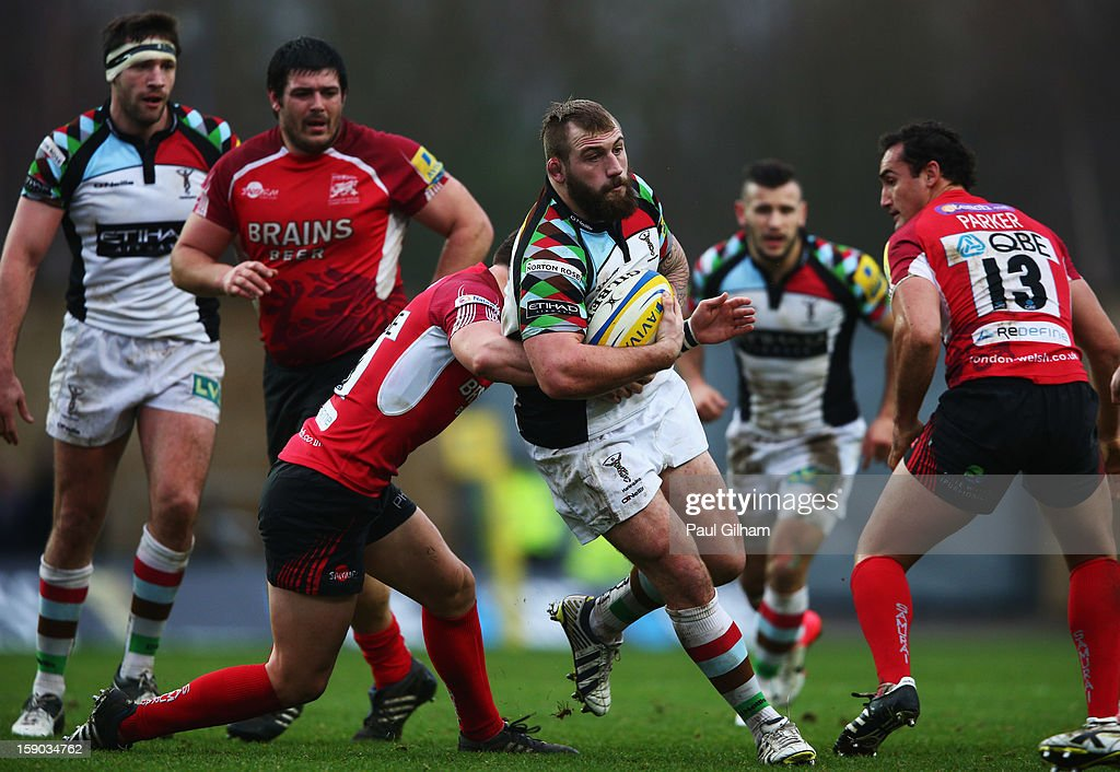 Joe Marler of Harlequins inb action during the Aviva Premiership match between London Welsh and Harlequins at Kassam Stadium on January 6, 2013 in Oxford, England.