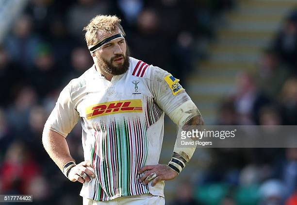 Joe Marler of Harlequins looks on during the Aviva Premiership match between Northampton Saints and Harlequins at Franklin's Gardens on March 27 2016...