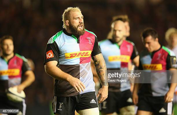 Joe Marler of Harlequins looks on during the European Rugby Champions Cup match between Harlequins and Castres Olympique at Twickenham Stoop on...