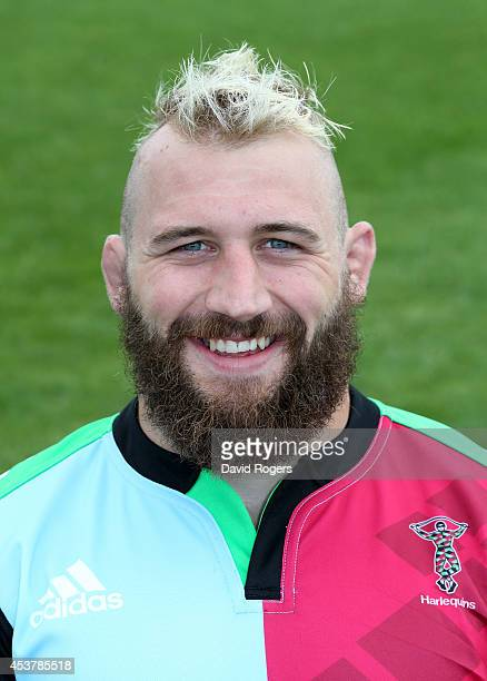 Joe Marler of Harlequins poses for a portrait at the photocall held at the Surrey Sports Centre on August 18 2014 in Guildford England
