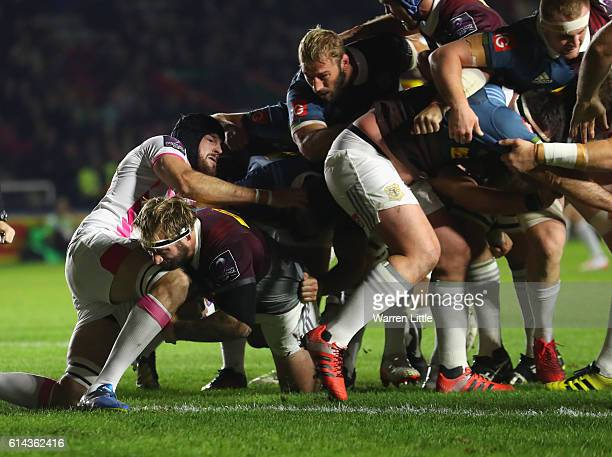 Joe Marler of Harlequins scores the opening try during the European Rugby Challenge Cup match between Harlequins v Stade Francais Paris on October 13...