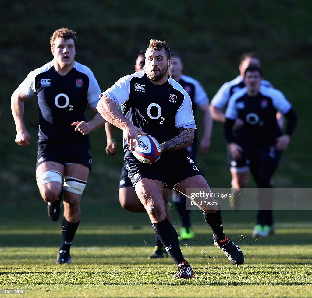 Joe Marler runs with the ball during the England training session held at Pennyhill Park on February 19, 2013 in Bagshot, England.