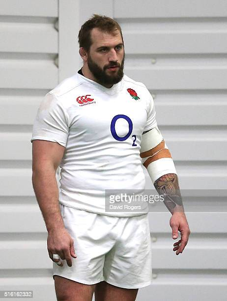 Joe Marler the England prop looks on during the England training session held at Pennyhill Park on March 17 2016 in Bagshot England
