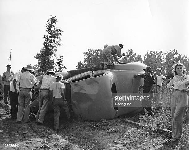 Joe MartinÕs stock car rests on its side after a crash at the New Atlanta Speedway The fiveeighths mile dirt track hosted races from 1947 through 1952