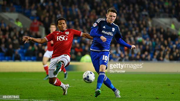 Joe Mason of Cardiff shoots at goal during the Sky Bet Championship match between Cardiff City and Bristol City at Cardiff City Stadium on October 26...