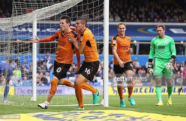 Joe Mason of Wolverhampton Wanderers celebrates after scoring a goal to make it 11 during the Sky Bet Championship fixture between Birmingham City...