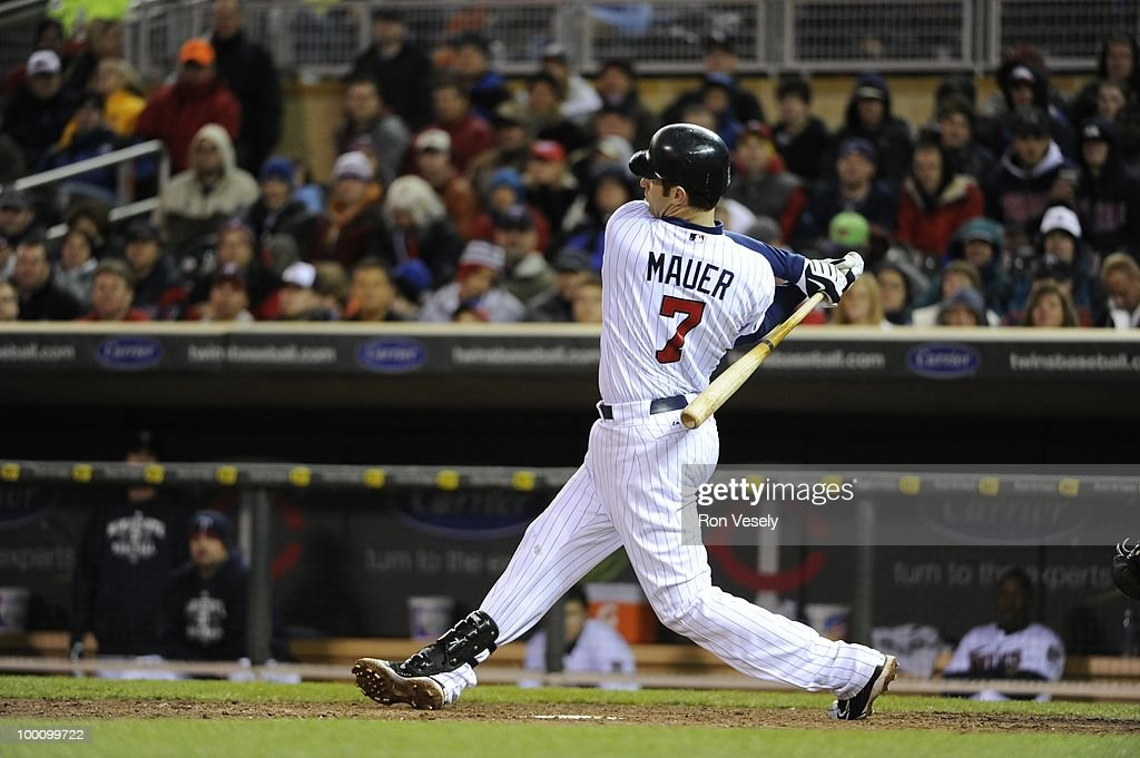 Joe Mauer #7 of the Minnesota Twins bats against the Chicago White Sox on May 11, 2010 at Target Field in Minneapolis, Minnesota. The White Sox defeated the Twins 5-2. (Photo by Ron Vesely/MLB Photos via Getty Images) *** Joe Mauer