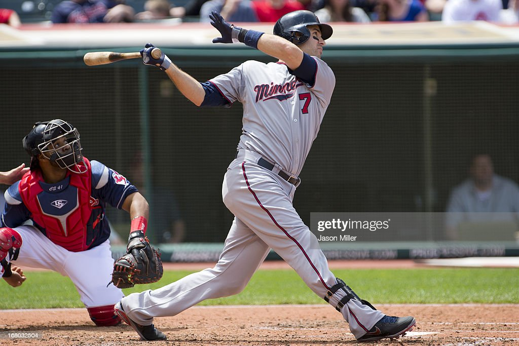 <a gi-track='captionPersonalityLinkClicked' href=/galleries/search?phrase=Joe+Mauer&family=editorial&specificpeople=214614 ng-click='$event.stopPropagation()'>Joe Mauer</a> #7 of the Minnesota Twins hits a single to center during the third inning against the Cleveland Indians at Progressive Field on May 4, 2013 in Cleveland, Ohio.