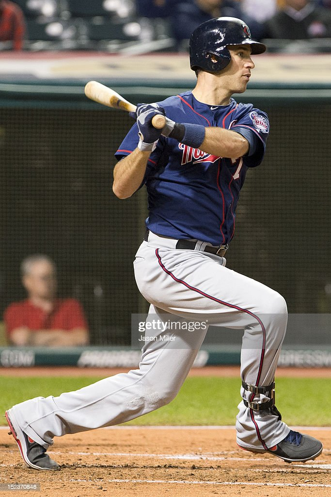 <a gi-track='captionPersonalityLinkClicked' href=/galleries/search?phrase=Joe+Mauer&family=editorial&specificpeople=214614 ng-click='$event.stopPropagation()'>Joe Mauer</a> #7 of the Minnesota Twins hits an RBI single during the third inning against the Cleveland Indians at Progressive Field on September 19, 2012 in Cleveland, Ohio.