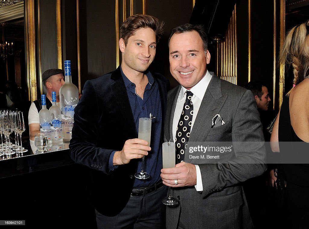 Joe McCanta (L) and <a gi-track='captionPersonalityLinkClicked' href=/galleries/search?phrase=David+Furnish&family=editorial&specificpeople=220203 ng-click='$event.stopPropagation()'>David Furnish</a> attend a party celebrating Patrick Cox's 50th Birthday party at Cafe Royal on March 15, 2013 in London, England.