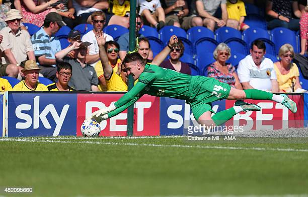 Joe McDonnell of AFC Wimbledon makes a save during the Pre Season Friendly match between AFC Wimbledon and Watford at The Cherry Red Records Stadium...