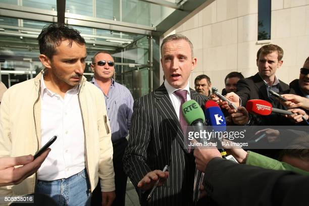 Joe McNamara originally from Achill Island Co Mayo leaves Dublin District Court with his solicitor Cahir O'Higgins after he was charged with one...