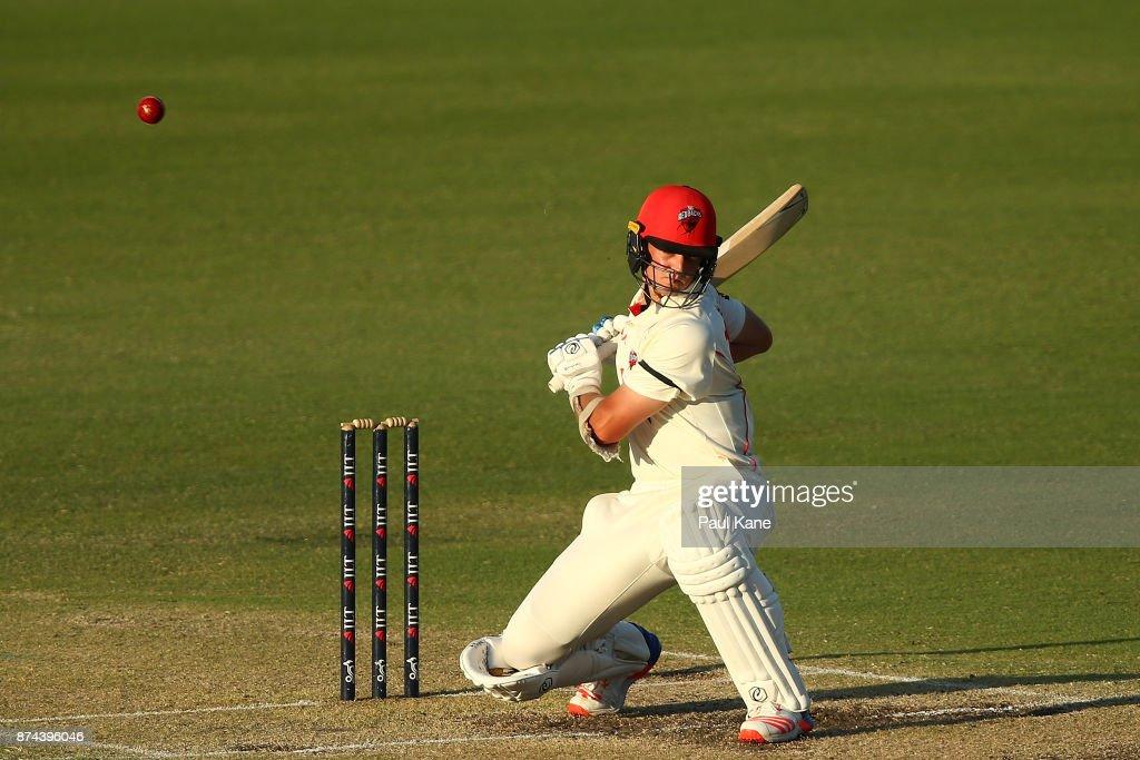 Joe Mennie of South Australia bats during day three of the Sheffield Shield match between Western Australia and South Australia at WACA on November 15, 2017 in Perth, Australia.