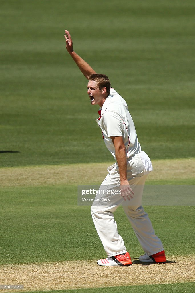 Joe Mennie of the Redbacks appeals during day one of the Sheffield Shield match between South Australia and Victoria at Adelaide Oval on February 14, 2016 in Adelaide, Australia.