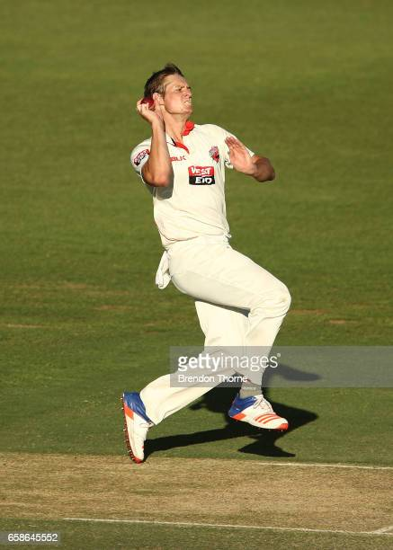 Joe Mennie of the Redbacks bowls during the Sheffield Shield final between Victoria and South Australia on March 28 2017 in Alice Springs Australia