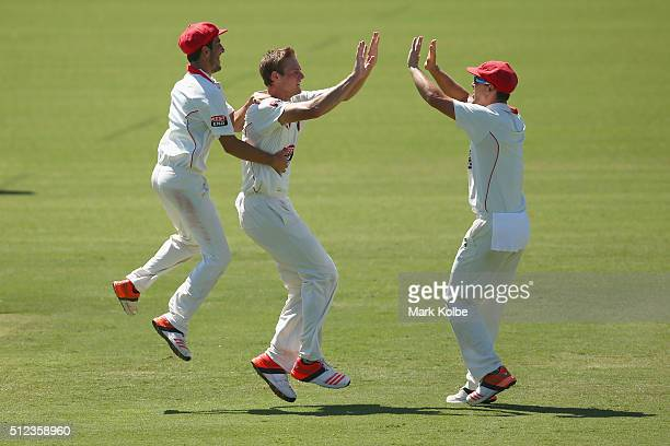 Joe Mennie of the Redbacks celebrates with his team mates after taking the wicket of Ben Rohrer of the Blues during day two of the Sheffield Shield...