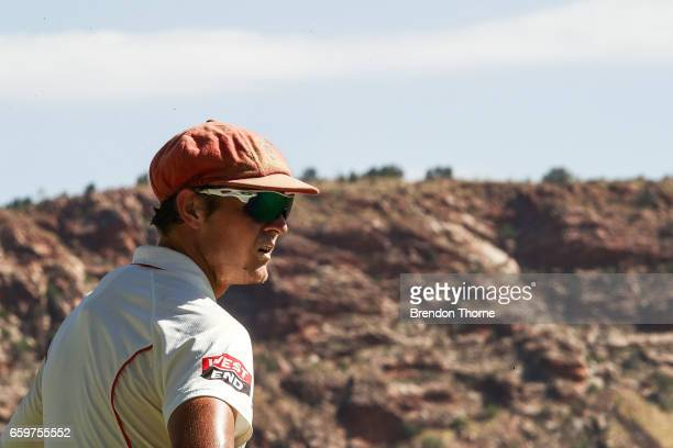 Joe Mennie of the Redbacks looks on during the Sheffield Shield final between Victoria and South Australia on March 29 2017 in Alice Springs Australia