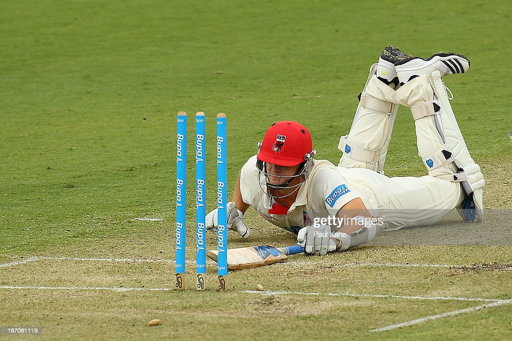 Joe Mennie of the Redbacks survives a stumping during day one of the Sheffield Shield match between the Western Australia Warriors and the South Australia Redbacks at the WACA on November 6, 2013 in Perth, Australia.