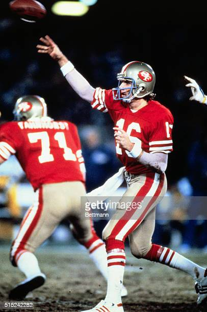 Joe Montana of New Eagle Pennsylvania quarterback for the San Francisco 49ers passes the ball during play