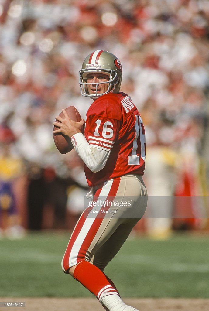 Joe Montana #16 of the San Francisco 49ers attempts a pass during a National Football League game against the Atlanta Falcons played on September 23, 1990 at Candlestick Park in San Francisco, California.