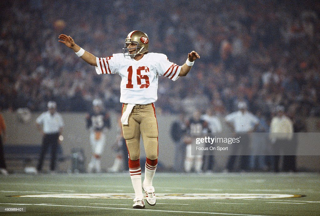 Joe Montana #16 of the San Francisco 49ers celebrates after they scored against the Cincinnati Bengals during Super Bowl XVI on January 24, 1982 at the Silverdome in Pontiac, Michigan. The Niners won the Super Bowl 26 -21.