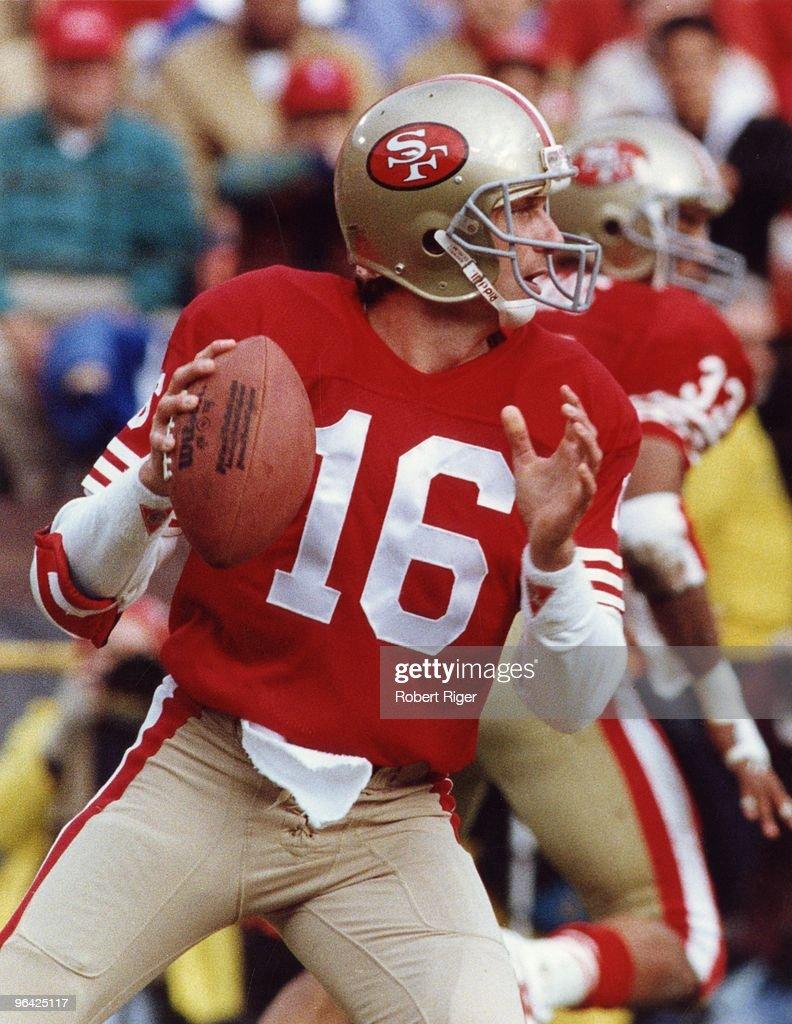 Joe Montana of the San Francisco 49ers drops back to pass during a circa 1980s game at Candlestick Park in San Francisco, California.