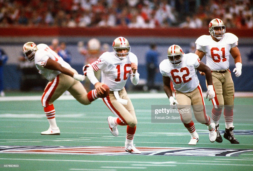 <a gi-track='captionPersonalityLinkClicked' href=/galleries/search?phrase=Joe+Montana&family=editorial&specificpeople=206967 ng-click='$event.stopPropagation()'>Joe Montana</a> #16 of the San Francisco 49ers runs with the ball against the Denver Broncos during Super Bowl XXIV on January 28, 1990 at the Super Dome in New Orleans, LA. The 49ers won the Super Bowl 55-10.
