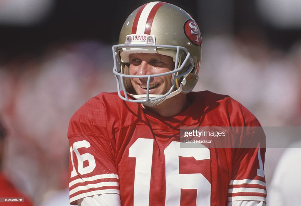 <a gi-track='captionPersonalityLinkClicked' href=/galleries/search?phrase=Joe+Montana&family=editorial&specificpeople=206967 ng-click='$event.stopPropagation()'>Joe Montana</a> #16 of the San Francisco 49ers smiles before a National Football League game against the Atlanta Falcons played on September 23, 1990 at Candlestick Park in San Francisco, California.
