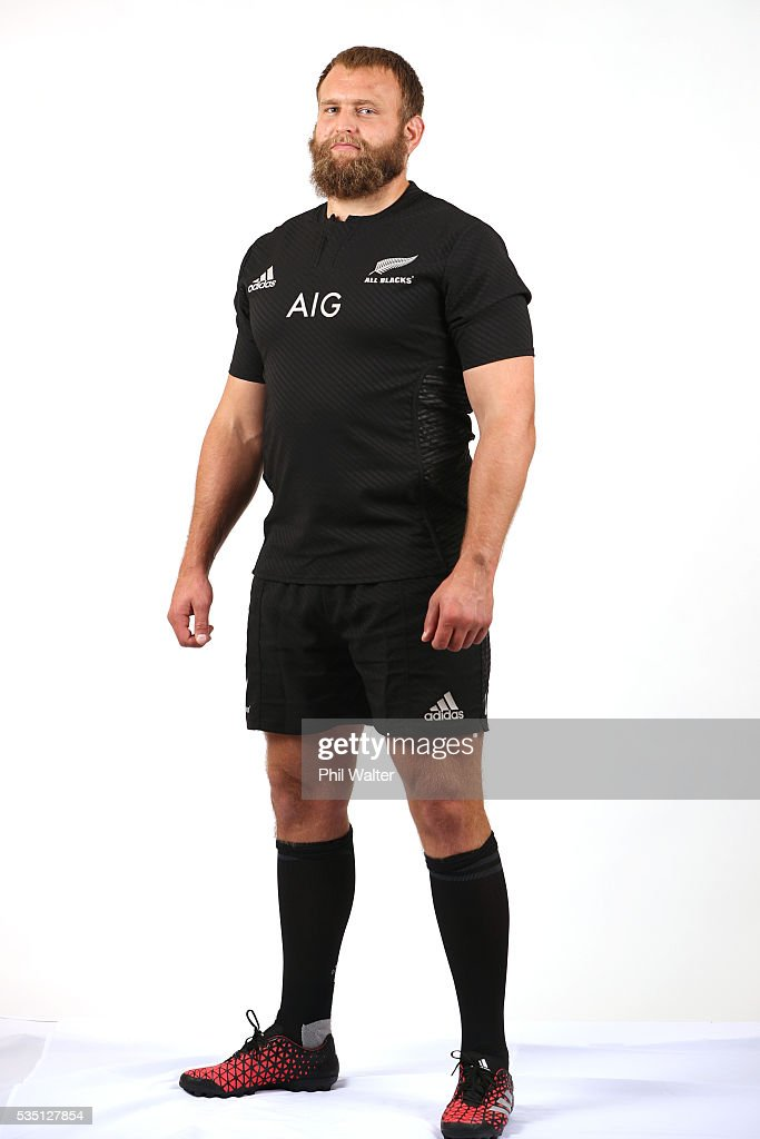 Joe Moody of the All Blacks poses for a portrait during a New Zealand All Black portrait session on May 29, 2016 in Auckland, New Zealand.