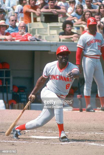 Joe Morgan of the Cincinnati Reds bats against the New York Mets during an Major League Baseball game circa 1977 at Shea Stadium in the Queens...