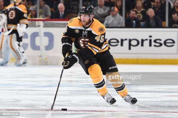 Joe Morrow of the Boston Bruins skates against the Ottawa Senators in Game Three of the Eastern Conference First Round during the 2017 NHL Stanley...