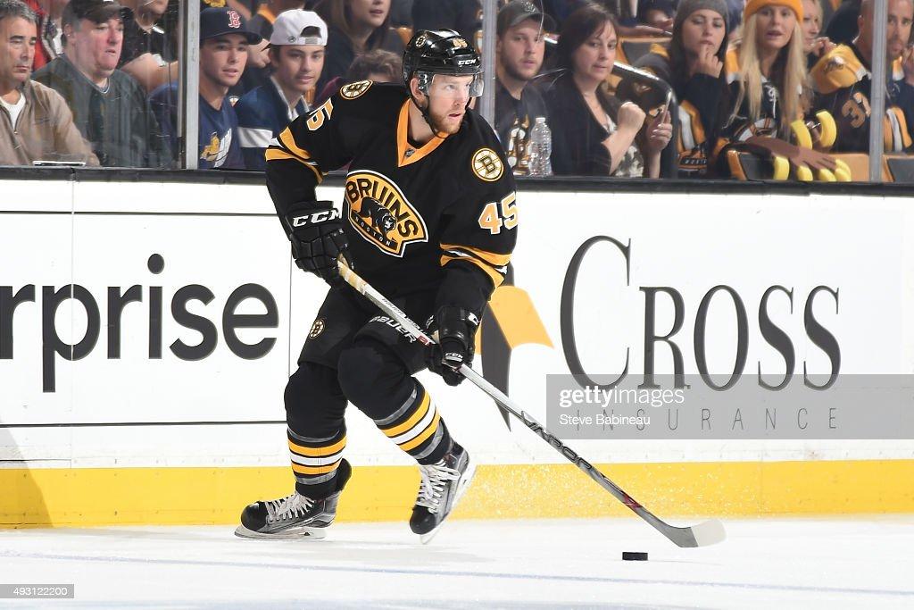 Joe Morrow of the Boston Bruins skates against the Tampa Bay Lightning at the TD Garden on October 12 2015 in Boston Massachusetts