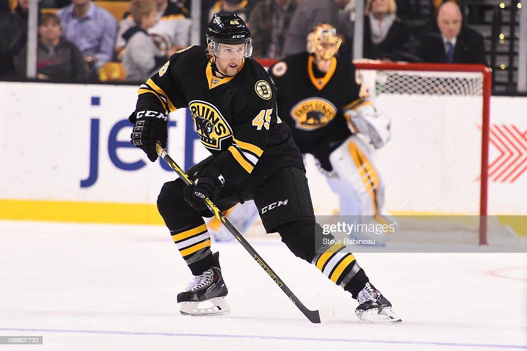 Joe Morrow of the Boston Bruins skates against the Winnipeg Jets at the TD Garden on November 28 2014 in Boston Massachusetts