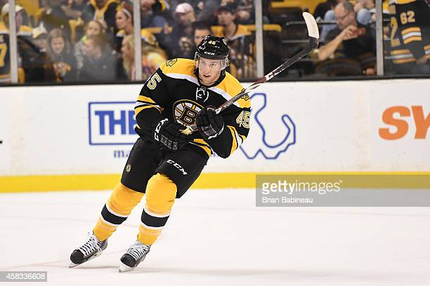 Joe Morrow of the Boston Bruins skates during warmups before the game against the Ottawa Senators at the TD Garden on November 1 2014 in Boston...