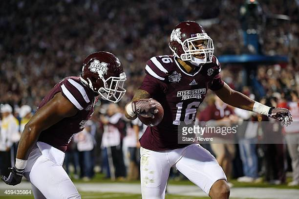 Joe Morrow of the Mississippi State Bulldogs reacts to a score during the first quarter of a game against the Vanderbilt Commodores at Davis Wade...