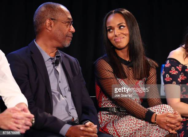Joe Morton and Kerry Washington speak onstage during SCANDAL THE FINAL SEASON panel at Vulture Festival LA Presented by ATT at Hollywood Roosevelt...