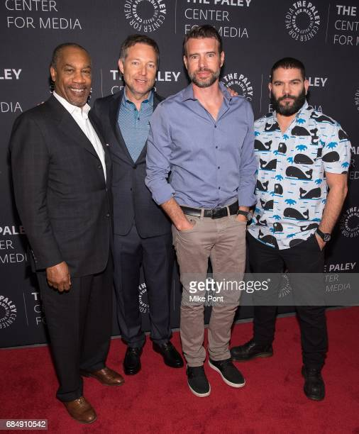Joe Moton Gerorge Newbern Scott Foley and Guillermo Diaz attend The Ultimate 'Scandal' Watch Party at The Paley Center for Media on May 18 2017 in...