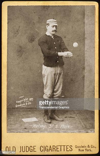 Joe Mulvey third baseman for the Philadelphia Phillies poses in a studio for a cabinet card photo issued by Goodwin Co for Old Judge Cigarettes in...