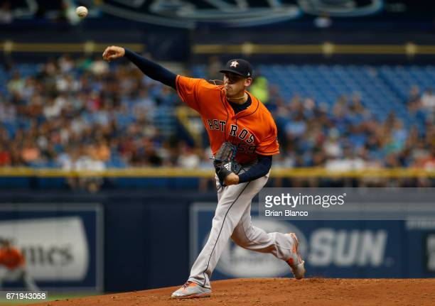 Joe Musgrove of the Houston Astros pitches during the first inning of a game against the Tampa Bay Rays on April 23 2017 at Tropicana Field in St...