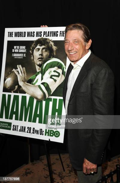 Joe Namath attends the premiere of 'Namath' at the HBO Theater on January 25 2012 in New York City