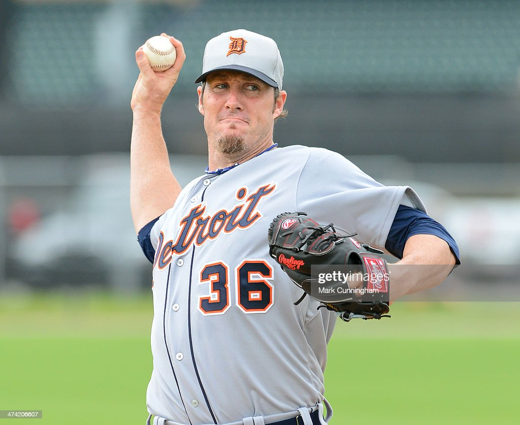 <a gi-track='captionPersonalityLinkClicked' href=/galleries/search?phrase=Joe+Nathan&family=editorial&specificpeople=215405 ng-click='$event.stopPropagation()'>Joe Nathan</a> #36 of the Detroit Tigers pitches during the spring training workout day at the TigerTown complex on February 22, 2014 in Lakeland, Florida.