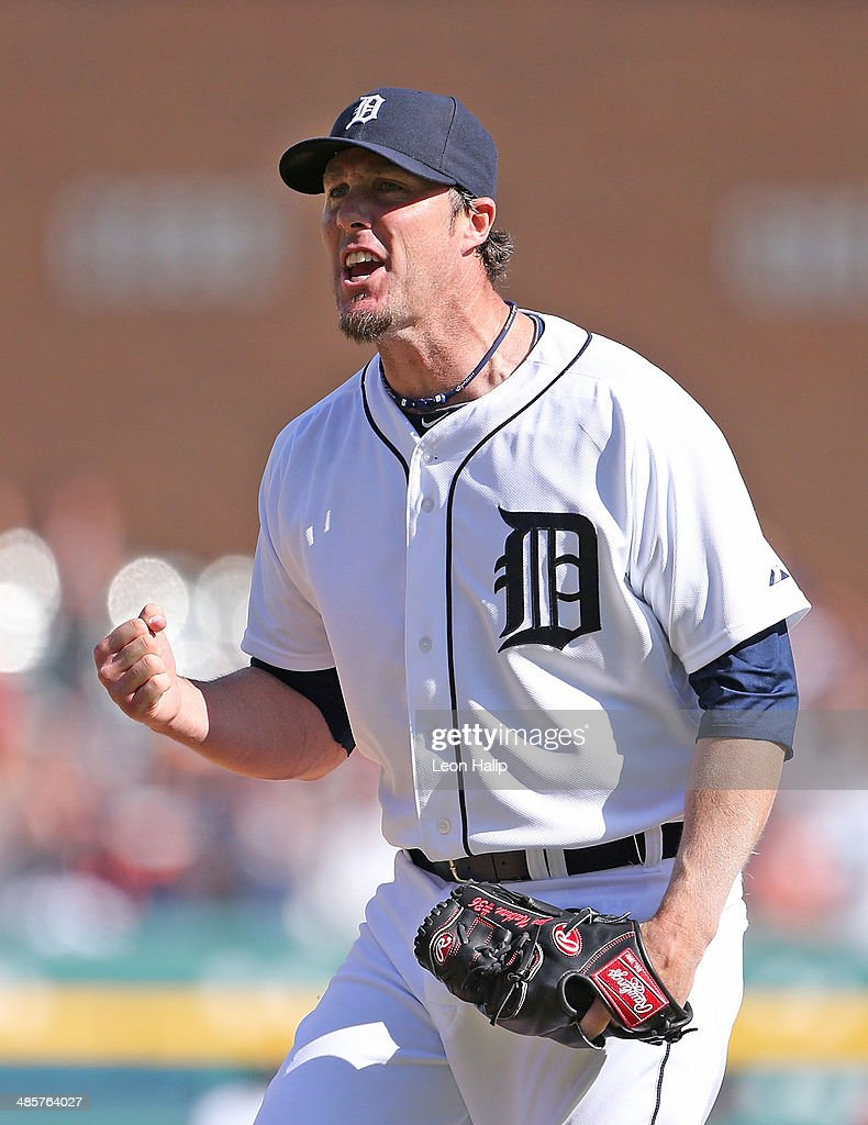 Joe Nathan #36 of the Detroit Tigers reacts after striking out Raul Ibanez #28 of the Los Angeles Angels of Anaheim to end the game at Comerica Park on April 20, 2014 in Detroit, Michigan. The Tigers defeated the Angels 2-1.