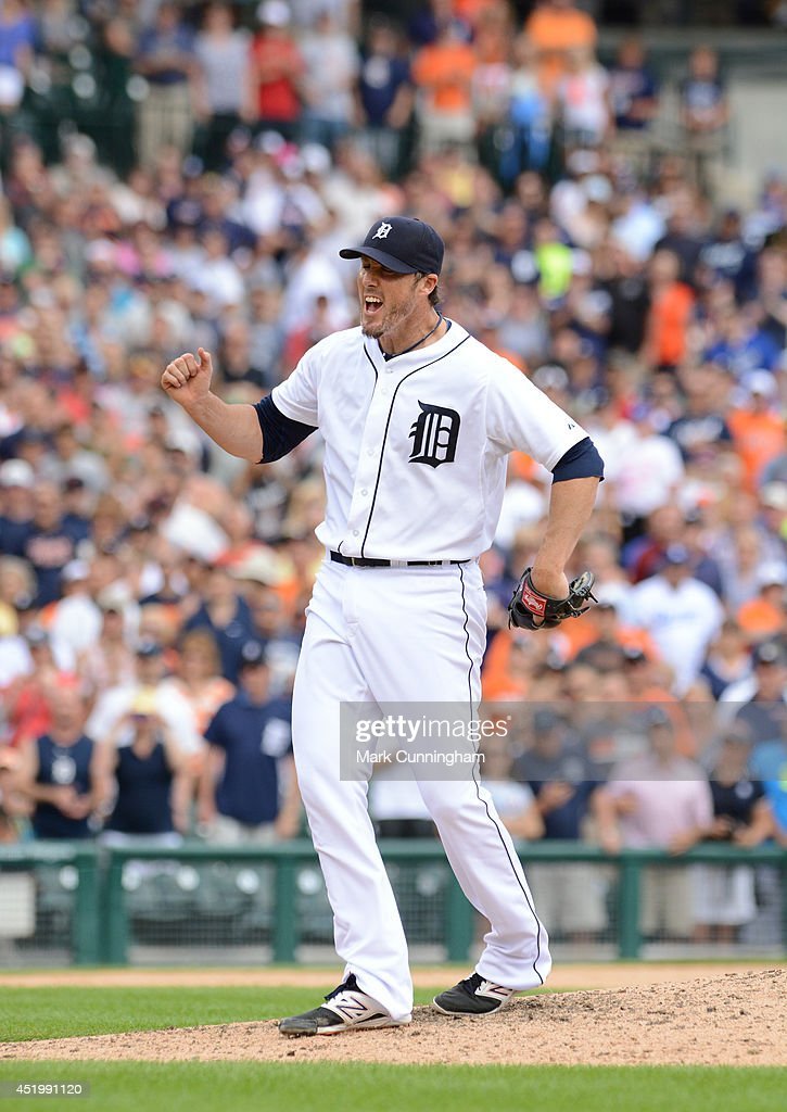 <a gi-track='captionPersonalityLinkClicked' href=/galleries/search?phrase=Joe+Nathan&family=editorial&specificpeople=215405 ng-click='$event.stopPropagation()'>Joe Nathan</a> #36 of the Detroit Tigers reacts after striking out the final batter of the game against the Los Angeles Dodgers at Comerica Park on July 9, 2014 in Detroit, Michigan. The Tigers defeated the Dodgers 4-1.