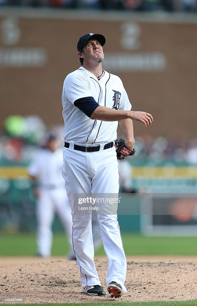 Joe Nathan #36 of the Detroit Tigers reacts after walking Jason Kipnis of the Cleveland Indians (not in photo) to load the bases during the ninth inning of the game at Comerica Park on September 14, 2014 in Detroit, Michigan. The Tigers defeated the Indians 6-4.