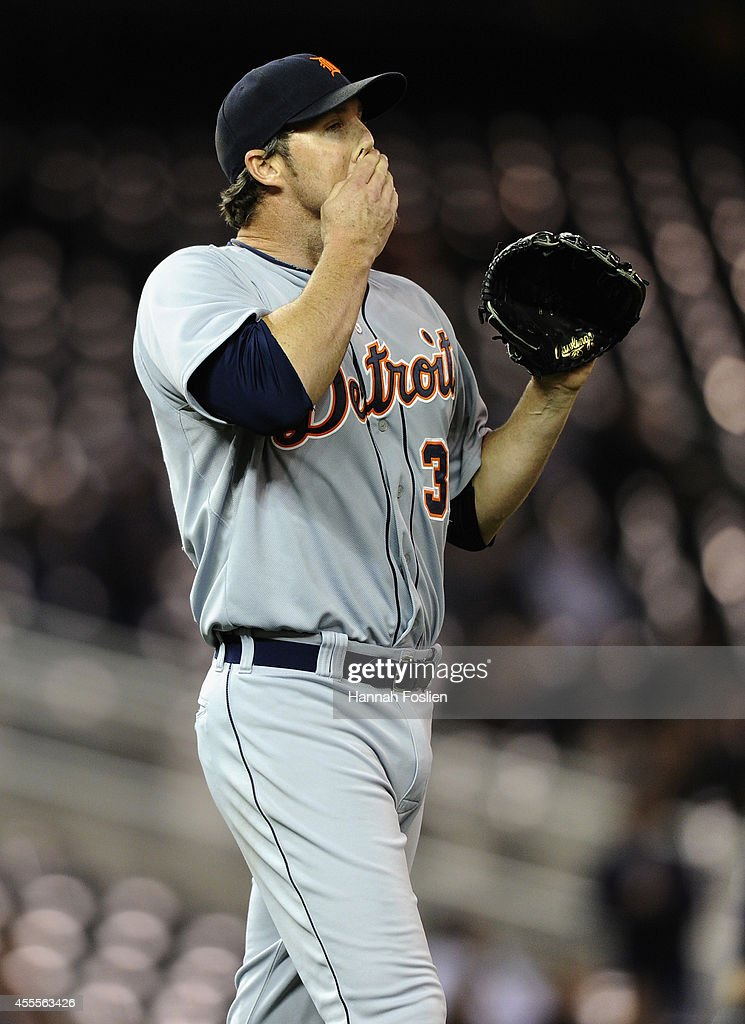 Joe Nathan #36 of the Detroit Tigers reacts during the ninth inning of the game against the Minnesota Twins on September 16, 2014 at Target Field in Minneapolis, Minnesota. The Twins defeated the Tigers 4-3.