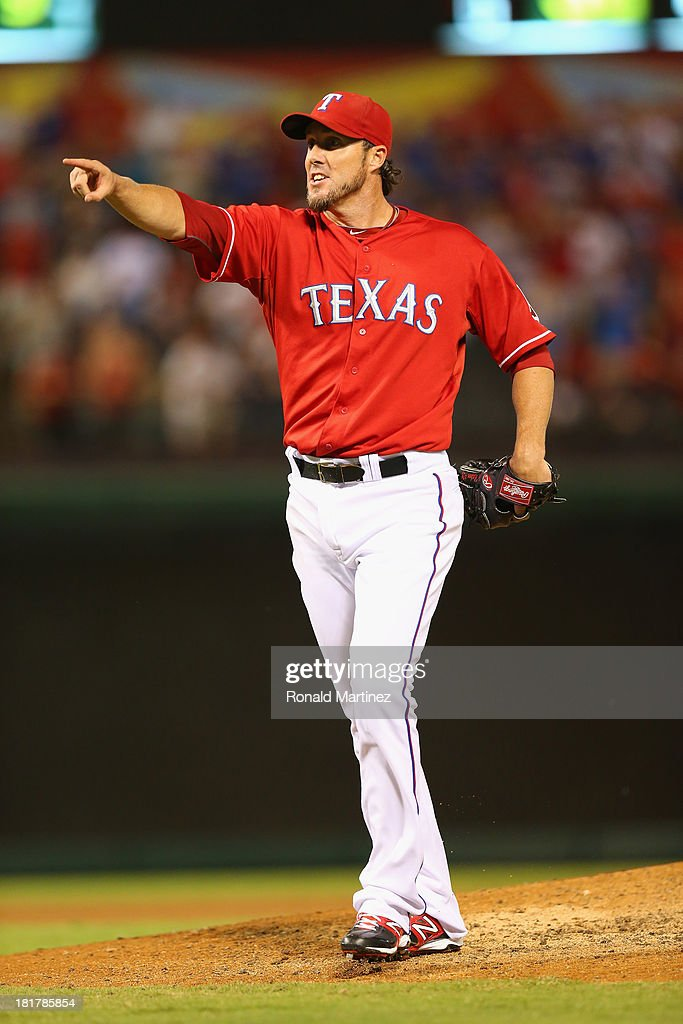 Joe Nathan #36 of the Texas Rangers at Rangers Ballpark in Arlington on September 24, 2013 in Arlington, Texas.