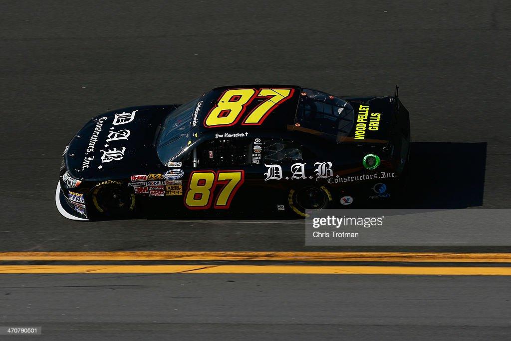 Joe Nemechek driver of the DAB Constructors/pelletgrillusacom Toyota practices for the NASCAR Nationwide Series DRIVE4COPD 300 at Daytona...