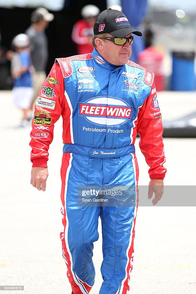 <a gi-track='captionPersonalityLinkClicked' href=/galleries/search?phrase=Joe+Nemechek&family=editorial&specificpeople=176518 ng-click='$event.stopPropagation()'>Joe Nemechek</a>, driver of the #87 Fleetwing Toyota, walks on the grid during qualifying for the NASCAR XFINITY Series Subway Firecracker 250 at Daytona International Speedway on July 1, 2016 in Daytona Beach, Florida.